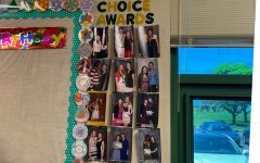 Math teacher Patricia Mabie keeps the photos taken at the Choice Awards in her room. Even today, Mabie is still in contact with many of the students she selected for her Choice Award.