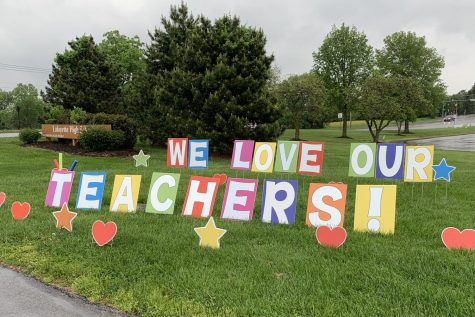 On the first day of Teacher Appreciation Week, May 3, 2021, Lafayette staff arrived to find yard signs set up around the school by Lancer Parent Organization (LPO) showing appreciation for their hard work.