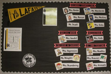 Inside the school counseling center, a bulletin board depicts the names of all the school counselors and their duties.