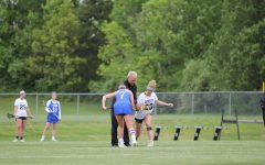 Moments before a draw, junior Ansley Hails sets off against the Laude Rams. The Lady Lancers played the Rams on May 11. Hails scored three goals in the contest.