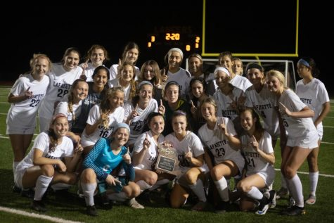 On May 20, the girls soccer team won the District Championship.