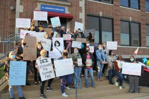 During the May 6, 2021 Rockwood Board of Education meeting, Rockwood community members gathered outside the Administrative Annex building, where the meeting was being held, to demonstrate their opinions regarding the current controversies over diverse curriculums. Over 30 patrons spoke during the meeting for three-minute slots each.