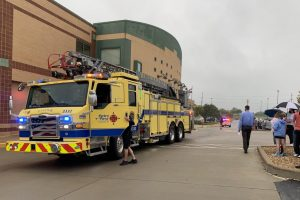 Firefighters arrive at Lafayette High School after an alarm sounds at the school during 1st Hour on Sept. 21.