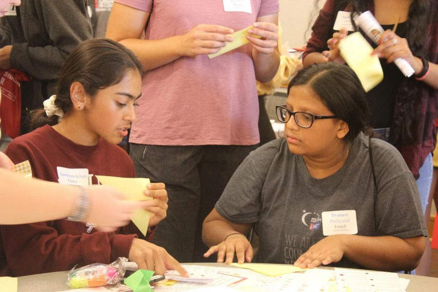 On a French 4 and Spanish 4 field trip to the University of St. Louis in 2019, Class of 2021 alumni Samreen Khan and Pranavi Pitchyaiah participate in a team-building activity during their junior year. The world language students participated in multiple activities, including a scavenger hunt. This was part of a field trip for World Language Day, where students got the opportunity to visit UMSL.