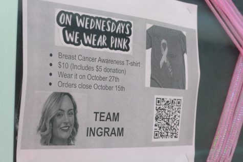 A poster promoting the t-shirt sales for Ingram hangs in a display case outside Asst. Principal Tim Jones office.