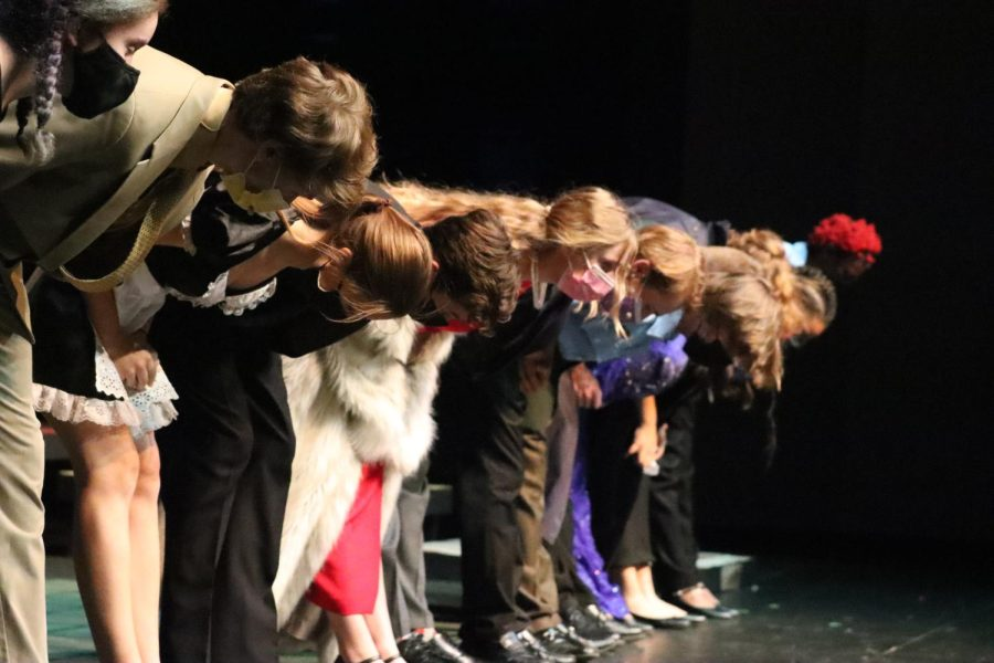 The cast of Classic Mystery Game takes their final bow at the conclusion of the performance.