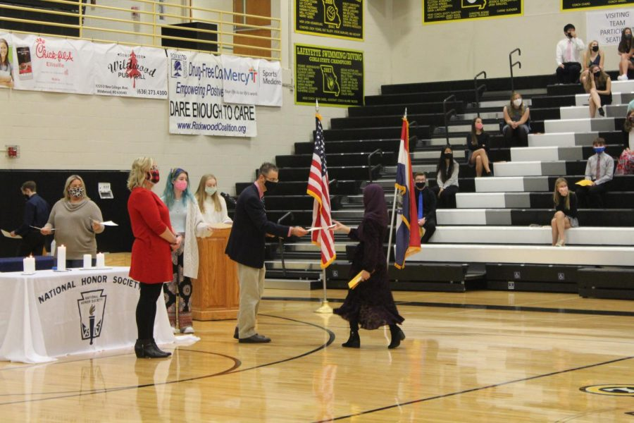 The National Honor Society Induction occurs on Nov. 19 in 2020. Because of COVID restrictions, no parents were allowed to attend the previous ceremony and social distancing was strongly enforced.