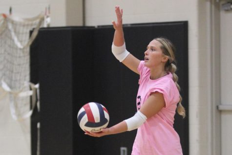 Sophomore Audrey Savacool looks to serve the ball during the teams Pink Game on Oct. 14 against Eureka High School. On Oct. 25, girls volleyball will take on Borgia in Districts.