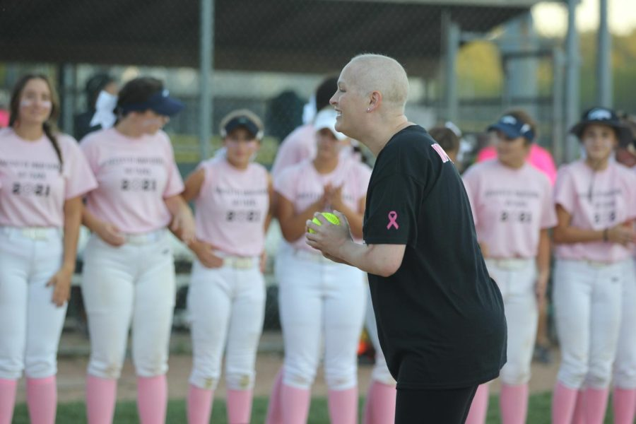 During+the+Sept.+23+Pink+Game+against+Marquette%2C+Ingram+throws+the+first+pitch+of+the+game.+The+game+is+annual+but+this+was+the+first+year+that+a+first+pitch+was+thrown.+The+Lancers+beat+Marquette+for+the+third+year+in+a+row%2C+with+a+final+score+of+5-2.